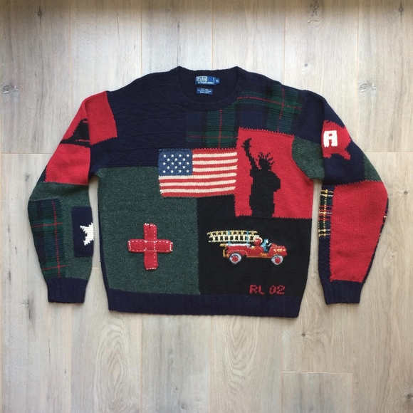 RARE Ralph Lauren Polo 9 11 Tribute Wool Sweater. M 5a77a7eb31a3762763d957f9 c93556439